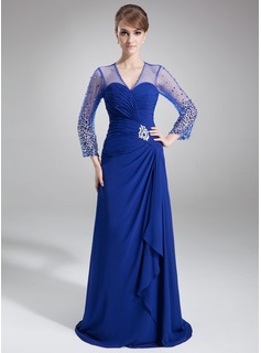 A-Line/Princess V-neck Court Train Chiffon Tulle Mother of the Bride Dress With Ruffle Beading Sequins