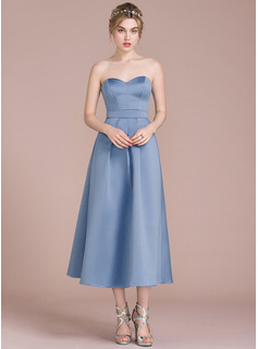 A-Line/Princess Sweetheart Tea-Length Satin Cocktail Dress