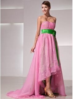 Empire Sweetheart Asymmetrical Organza Charmeuse Holiday Dress With Ruffle Flower(s)