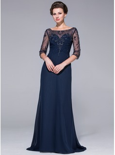 A-Line/Princess Scoop Neck Sweep Train Chiffon Tulle Mother of the Bride Dress With Beading Sequins