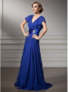 A-Line/Princess V-neck Sweep Train Chiffon Lace Mother of the Bride Dress With Beading Cascading Ruffles