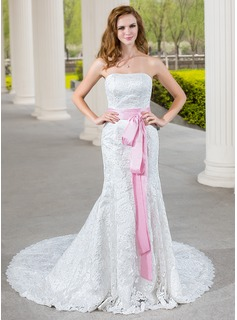 Mermaid Sweetheart Chapel Train Taffeta Lace Wedding Dress With Sashes