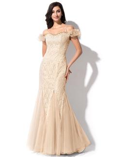 Mořská panna Off-the-rameno Délka na zem Tulle Charmeuse Lace Večerní šaty S Zdobení korálky Flitry