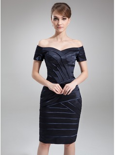Sheath Off-the-Shoulder Knee-Length Charmeuse Mother of the Bride Dress