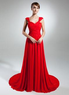 Linia A/Księżniczka Kochanie Tren Kapliczny Chiffon Suknia dla Mamy Panny Młodej Z Żabot