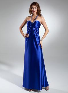 Empire Halter Floor-Length Charmeuse Holiday Dress With Ruffle Beading