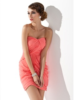 Sheath/Column Sweetheart Short/Mini Chiffon Homecoming Dress With Ruffle