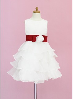 A-Line/Princess Scoop Neck Knee-Length Organza Satin Flower Girl Dress With Sash Flower(s) Bow(s) Cascading Ruffles
