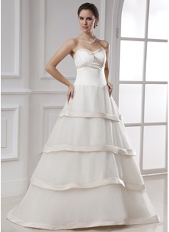 Ball-Gown Sweetheart Floor-Length Organza Satin Wedding Dress
