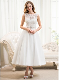 A-Line/Princess Scoop Neck Tea-Length Satin Tulle Lace Wedding Dress With Beading Sequins