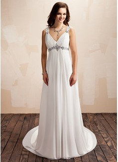 Corte A/Princesa Escote en V Cola corte Chifón Vestido de novia con Volantes Bordado