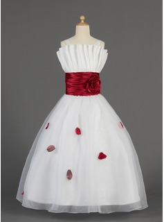 A-Line/Princess Floor-length Flower Girl Dress - Organza/Charmeuse Sleeveless Scalloped Neck With Ruffles/Sash/Flower(s)/Bow(s)