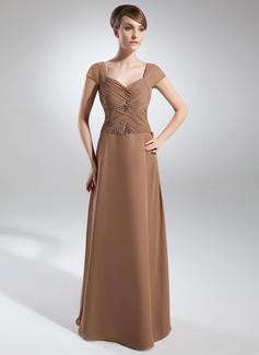 Çan/Prenses Kalp Kesimli Uzun Etekli Chiffon Gelin Annesi Elbisesi Ile Büzgü Boncuklama