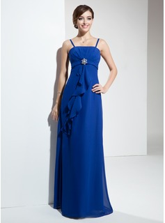 Empire Floor-Length Chiffon Bridesmaid Dress With Crystal Brooch Cascading Ruffles