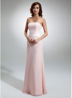 Sheath Strapless Floor-Length Chiffon Charmeuse Bridesmaid Dress With Ruffle