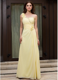 A-Linie/Princess-Linie One-Shoulder-Träger Bodenlang Chiffon Abendkleid mit Rüschen Perlen verziert Blumen