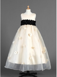 Empire Ankle-length Flower Girl Dress - Organza/Charmeuse Sleeveless Scoop Neck With Sash/Flower(s)