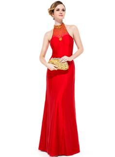 غمد عنق مدور الطول الأرضي Jersey فستان سهرة مع مطرز بالخرز ترتر
