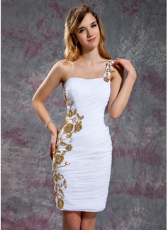 Sheath/Column One-Shoulder Short/Mini Chiffon Homecoming Dress With Ruffle Beading Appliques Lace Sequins