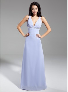 A-Line/Princess V-neck Floor-Length Chiffon Evening Dress With Ruffle Beading Sequins Bow(s)