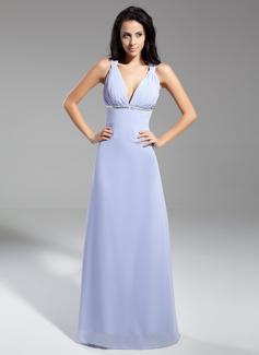 Çan/Prenses V Yaka Uzun Etekli Chiffon Gece Elbisesi