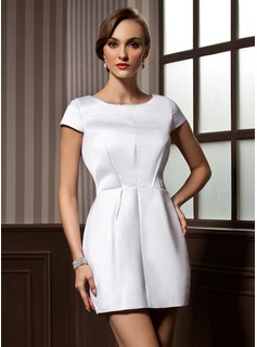Forme Fourreau Col rond Courte/Mini Satiné Robe de cocktail