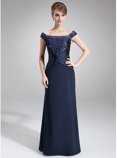 Sheath/Column Off-the-Shoulder Sweep Train Chiffon Charmeuse Mother of the Bride Dress With Ruffle Lace Beading Sequins
