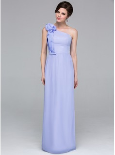 Sheath/Column One-Shoulder Floor-Length Chiffon Holiday Dress With Ruffle Flower(s)