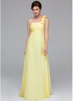 Empire Floor-Length Chiffon Bridesmaid Dress With Ruffle Flower(s)