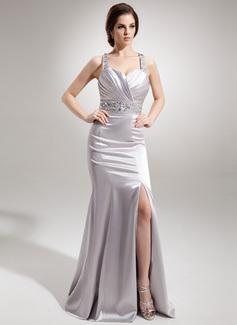 Trumpet/Mermaid Sweetheart Watteau Train Charmeuse Evening Dress With Ruffle Beading Split Front