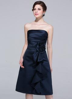 Sheath/Column Strapless Knee-Length Satin Bridesmaid Dress With Flower(s) Cascading Ruffles