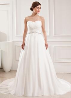 Ball-Gown Sweetheart Court Train Chiffon Wedding Dress With Ruffle Beading