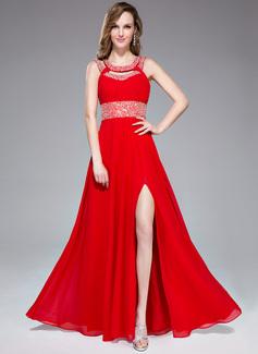 Corte A/Princesa Escote redondo Vestido Chifón Vestido de baile de promoción con Volantes Bordado Lentejuelas Apertura frontal