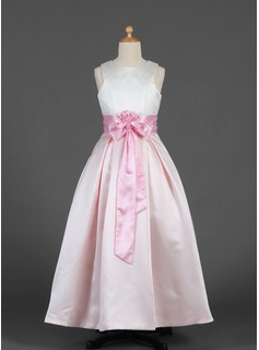 A-Line/Princess Floor-length Flower Girl Dress - Satin Sleeveless Scoop Neck With Sash/Flower(s)/Bow(s)