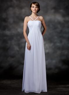 Corte imperial Escote corazón Vestido Chifón Vestido de novia con Volantes