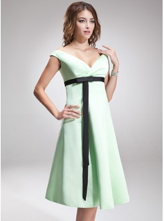 Empire Off-the-Shoulder Knee-Length Satin Bridesmaid Dress With Ruffle Sash Bow(s)