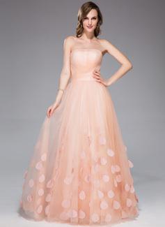 Corte A/Princesa Estrapless Vestido Tul Vestido de festivo con Volantes Flores