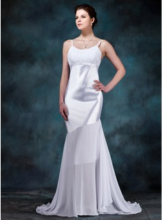 Mermaid Scoop Neck Sweep Train Chiffon Charmeuse Wedding Dress With Ruffle