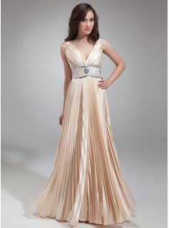 A-Line/Princess V-neck Floor-Length Charmeuse Evening Dress With Beading Pleated