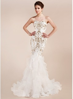 Trumpet/Mermaid Sweetheart Court Train Organza Lace Prom Dress With Embroidered Beading Sequins Cascading Ruffles