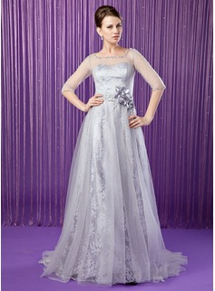 A-Line/Princess Scoop Neck Sweep Train Tulle Charmeuse Lace Mother of the Bride Dress With Beading Flower(s) Sequins