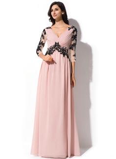 A-Linie/Princess-Linie V-Ausschnitt Bodenlang Chiffon Tüll Abendkleid mit Rüschen Perlen verziert Applikationen Spitze Pailletten