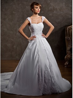 Ball-Gown Sweetheart Chapel Train Satin Wedding Dress With Lace Beadwork