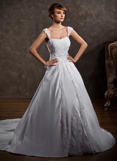 Corte de baile Escote corazón Cola capilla Satén Vestido de novia con Encaje Bordado
