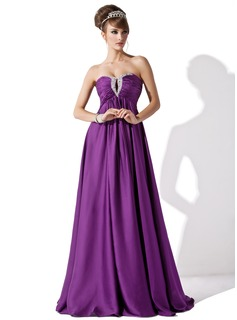 Empire Sweetheart Floor-Length Chiffon Evening Dress With Ruffle Beading