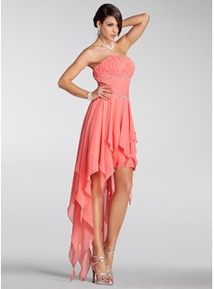 A-Line/Princess Strapless Asymmetrical Chiffon Holiday Dress With Ruffle Beading