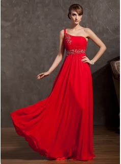 A-Line/Princess One-Shoulder Floor-Length Chiffon Holiday Dress With Ruffle Beading Appliques