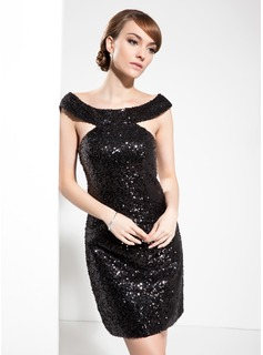 Sheath/Column Off-the-Shoulder Knee-Length Sequined Cocktail Dress