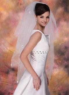 Czterowarstwowe Opuszki palca ślubne welony Z Cięte Bez Lamówki