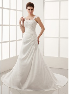 A-Line/Princess Chapel Train Taffeta Wedding Dress With Ruffle Lace Beading